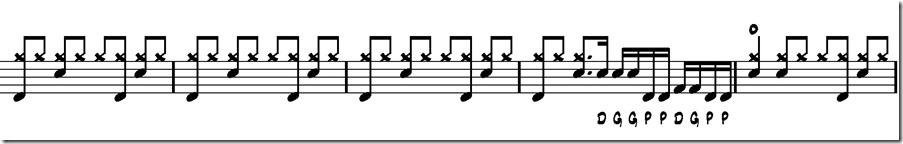 doigté de 9 coups base doubles 1 sequence